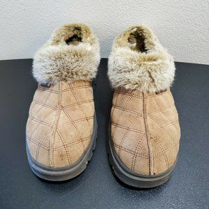 Skechers Brown Suede Faux Fur Lined Slip-on Shoes